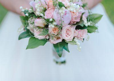 Brautstrauß Blumen in ose rosa weiß lila pastell