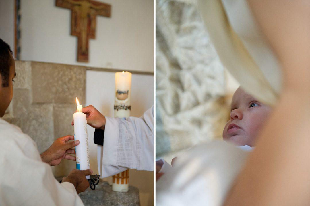 Täufling und Taufkerze