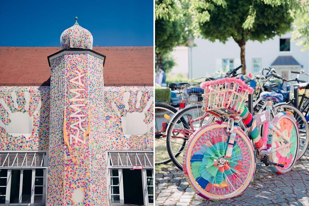 Zamma Festival 2017 verkleidetes Rathaus