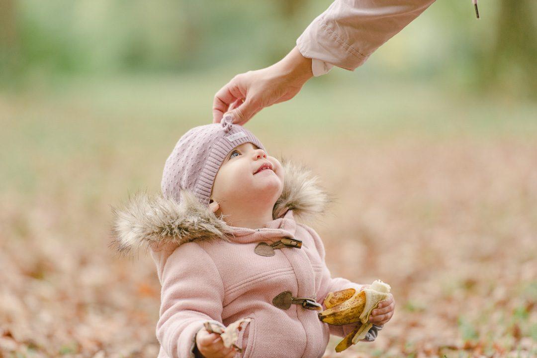 Wintermantel und Mütze in rosa für Kleinkind