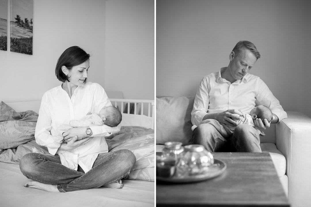 Eltern halten Baby Sohn im Arm
