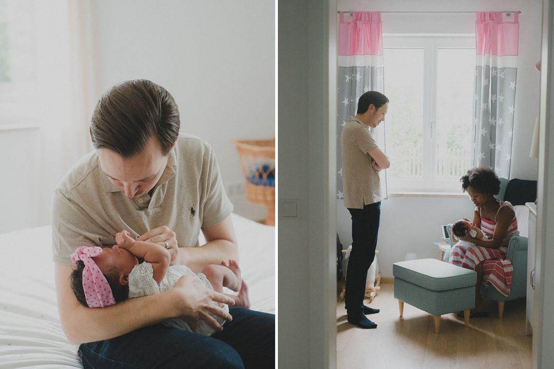 Junge Eltern mit Baby während Babyfotos
