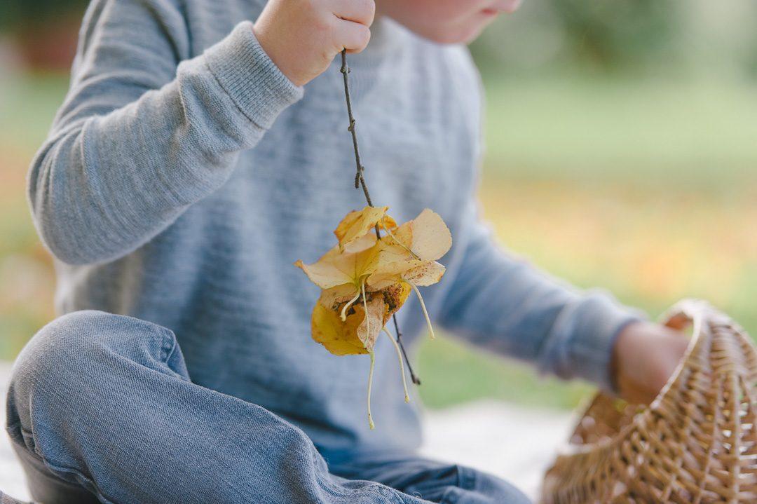 Junge bastelt mit Herbstlaub