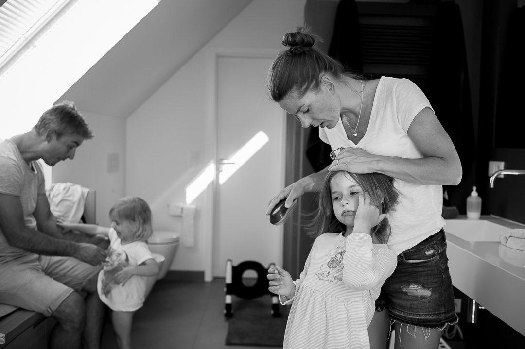 Bettgeh Ritual von Eltern mit Kindern