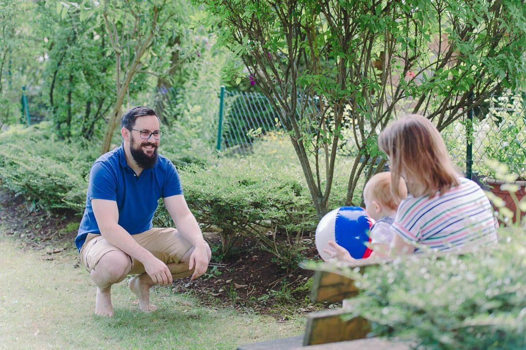 Familienfotos im Garten
